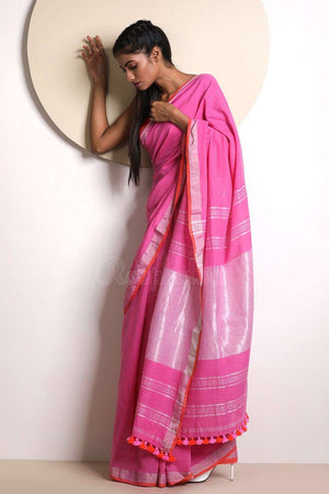 Bright Pink Pure Cotton Saree With Zari
