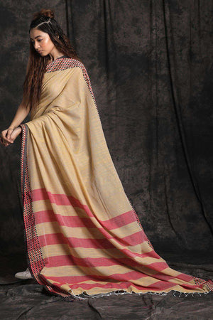 Beige Pure Cotton Saree With Woven Border