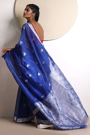 Zaffre Blue Linen Saree With Zari Border