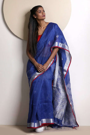 Zaffre Blue Linen Saree With Zari Border Earthen Collection Roopkatha - A Story of Art