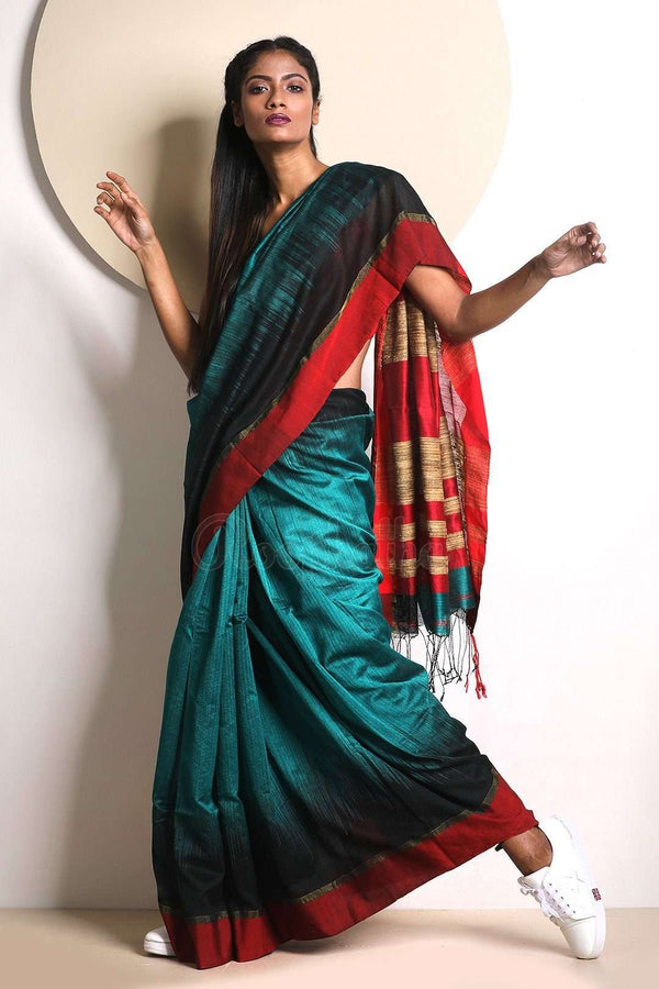 Blue Blended Cotton Saree With Red Border Akasha Roopkatha - A Story of Art