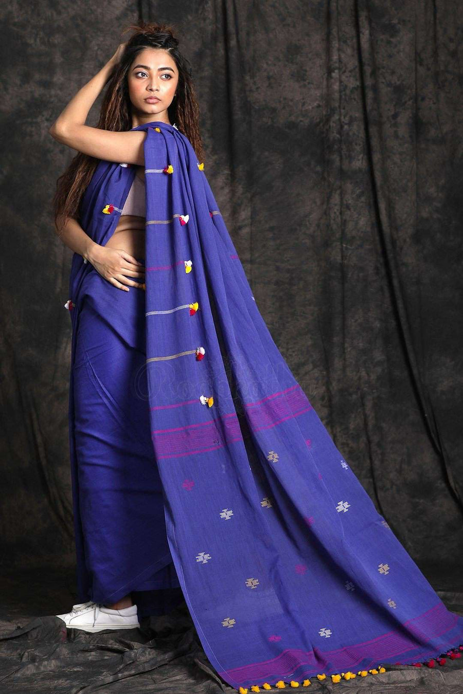 Blue Cotton Saree With Pompom