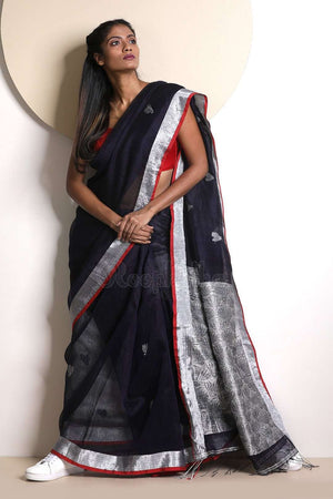 Navy Linen Saree With Zari Pallu Earthen Collection Roopkatha - A Story of Art