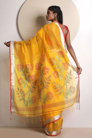 Bright Yellow Linen Saree With Jamdani Pallu Earthen Collection Roopkatha - A Story of Art