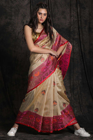 Beige Tusser Silk Saree With Zari Work Kriti Classics Roopkatha - A Story of Art