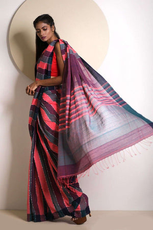 Multicolour Striped Blended Cotton Saree Akasha Roopkatha - A Story of Art