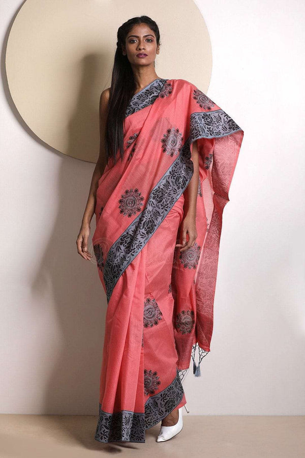 Pink Varanasi Cotton Saree With Embroidery VARANASI CHRONICLES Roopkatha - A Story of Art