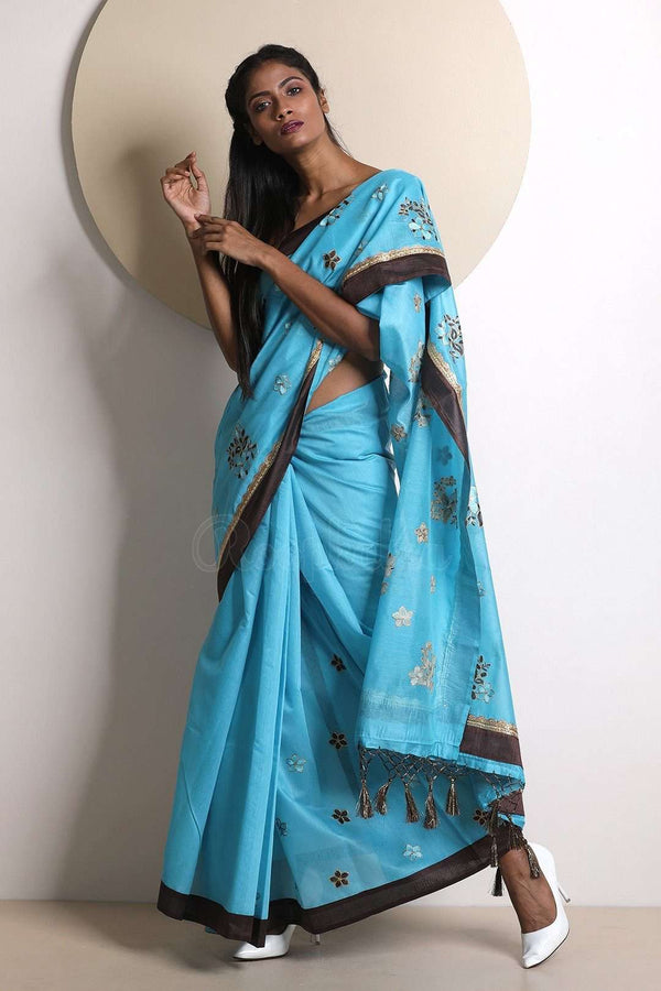 Blue Varanasi Cotton Saree With Embroidery VARANASI CHRONICLES Roopkatha - A Story of Art