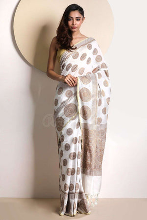 White Dupion Saree With Zari VARANASI CHRONICLES Roopkatha - A Story of Art