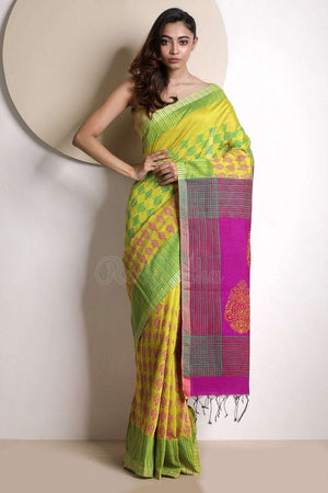 Yellow Handloom Cotton Saree With Handblock Prints Akasha Roopkatha - A Story of Art