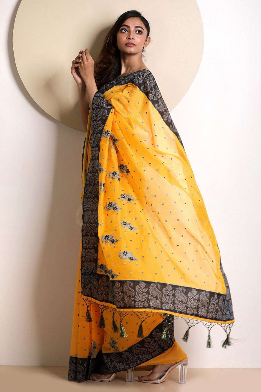 Yellow Varanasi Cotton Saree With Embroidery VARANASI CHRONICLES Roopkatha - A Story of Art