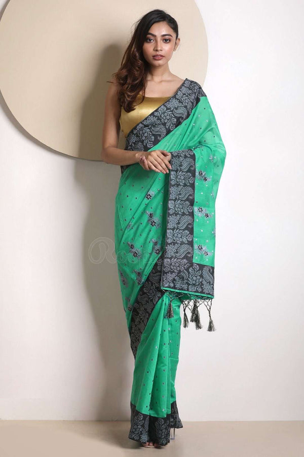 Green Varanasi Cotton Saree With Black Border VARANASI CHRONICLES Roopkatha - A Story of Art