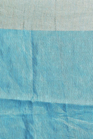 Blue Tissue Linen Saree With Embroidery