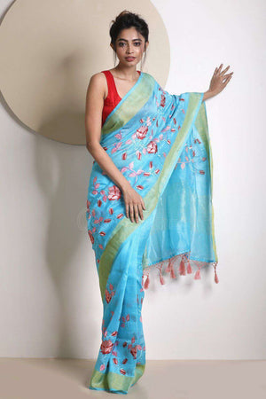 Blue Tissue Linen Saree With Embroidery VARANASI CHRONICLES Roopkatha - A Story of Art