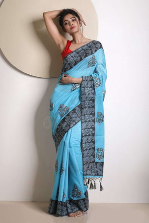 Blue Varanasi Cotton Saree With Black Border VARANASI CHRONICLES Roopkatha - A Story of Art