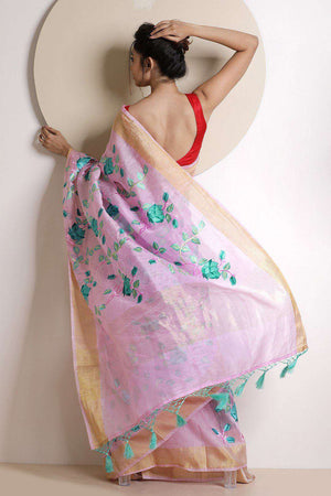 Faded Pink Tissue Linen Saree With Embroidery