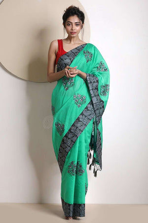 Sea Green Varanasi Cotton Saree With Black Border VARANASI CHRONICLES Roopkatha - A Story of Art