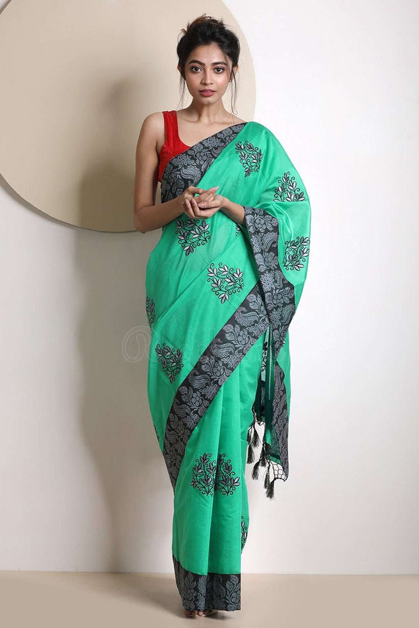 Sea Green Varanasi Cotton Saree With Black Border