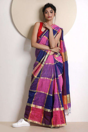 Pink & Blue Check Cotton Saree