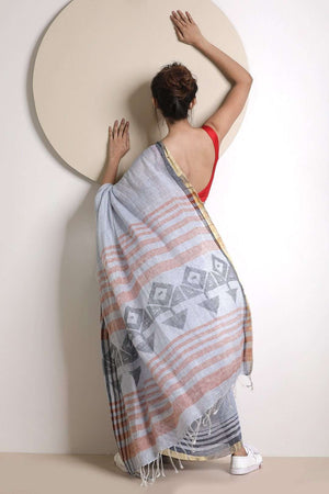 Light Grey Linen Saree With Striped Border
