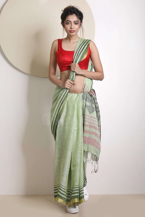Faded Mint Green Linen Saree With Striped Border