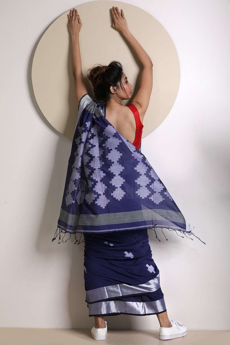 Blue Cotton Saree With Woven Pallu