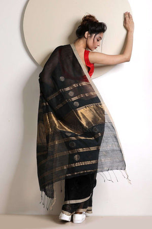 Black Blended Cotton Saree With Zari