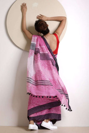 Light Pink Linen Saree With Handblock Prints Earthen Collection Roopkatha - A Story of Art
