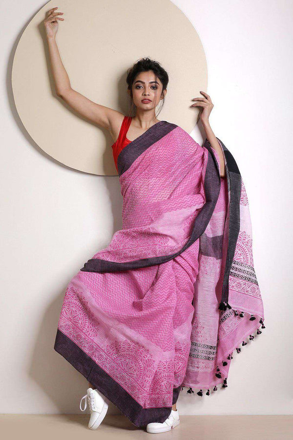 Light Pink Linen Saree With Handblock Prints