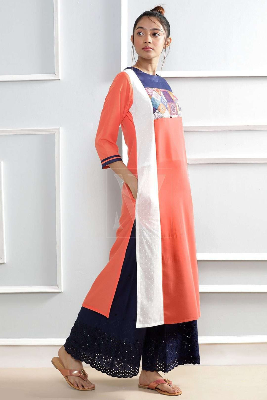 Peach Kurta With Printed Patch