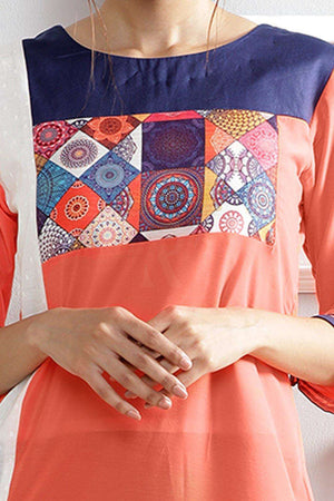 Peach Kurta With Printed Patch Rivka Roopkatha - A Story of Art