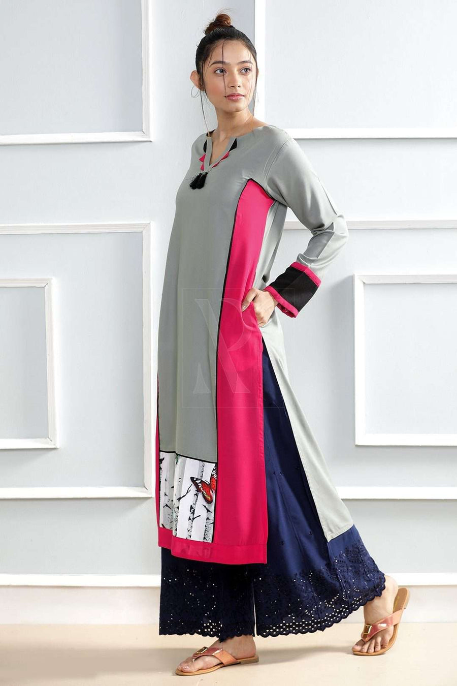 Grey Straight Cut Kurta