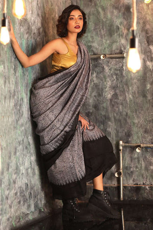 Grey Matka Silk Saree With Shibori Print Kriti Classics Roopkatha - A Story of Art