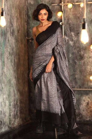 Grey Matka Silk Saree With Shibori Print