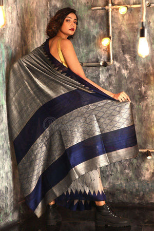 Silver Grey Matka Silk Saree With Temple Border