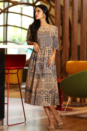Beige Tunic With Blue Mughal Architecture Prints