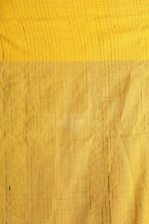 Yellow Ghicha Cotton Saree With Plain Border Akasha Roopkatha - A Story of Art