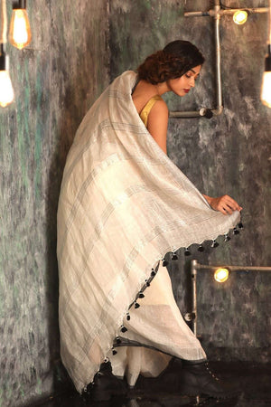 White Organic Linen Saree With Zari Border