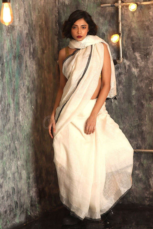 White Organic Linen Saree With Zari Border Earthen Collection Roopkatha - A Story of Art