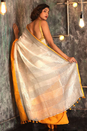 White Linen Saree With Yellow Border Earthen Collection Roopkatha - A Story of Art