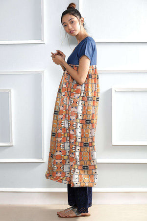 Multicolor Digital Printed Kurta Rivka Roopkatha - A Story of Art