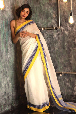 White Linen Saree With Temple Border