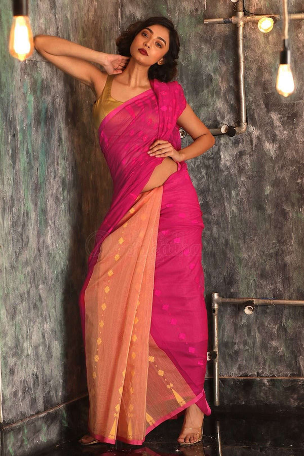 Fuchsia & Butterscotch Jamdani Saree With Temple Border Jamdani Weave Roopkatha - A Story of Art