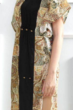 Printed Kaftan Kurta With Black Patch Rivka Roopkatha - A Story of Art