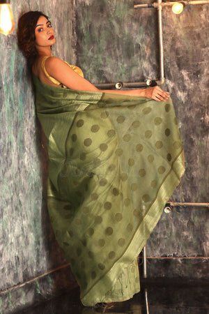 Pickle Green Matka Silk Saree With Zari Butta