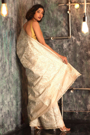 Beige Tusser Silk Saree With Kantha Stitch Work Kriti Classics Roopkatha - A Story of Art
