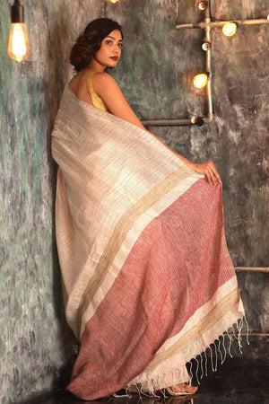 White Linen Saree With Checkered Texture