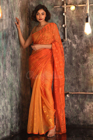 Orange Cotton Jamdani Saree With Zari Jamdani Weave Roopkatha - A Story of Art