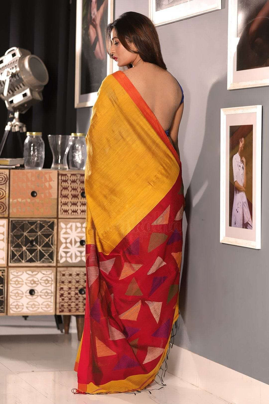 Yellow Blended Cotton Saree With Plain Border