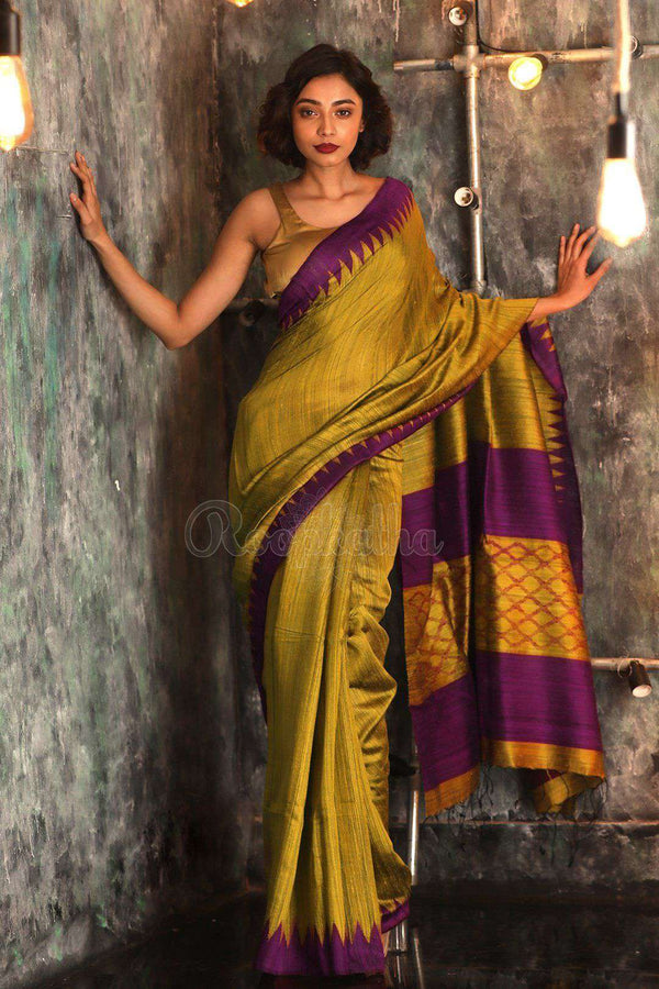 Yellow Matka Silk Saree With Temple Border Kriti Classics Roopkatha - A Story of Art